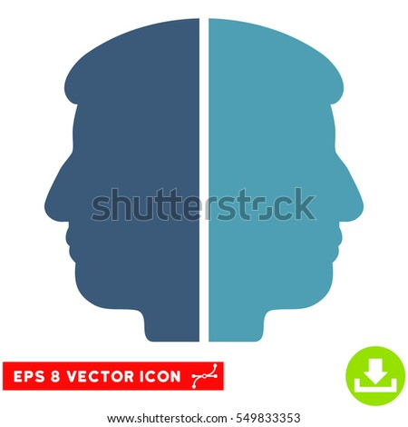 Dual Face EPS vector pictograph. Illustration style is flat iconic bicolor cyan and blue symbol on white background.