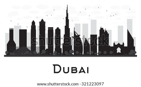 Dubai City skyline black and white silhouette. Vector illustration. Simple flat concept for tourism presentation, banner, placard or web site. Business travel concept. Cityscape with famous landmarks