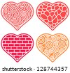 Duotone Vector Illustration: four Heart Shapes with Tangled Lines Inside Different Textures. Set of Decorated Maze    - stock vector