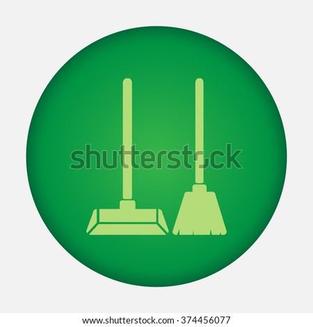 Dustpan and broom vector icon