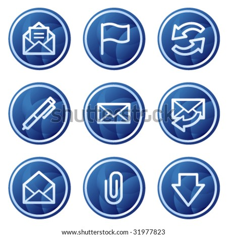 E-mail web icons, blue circle buttons series