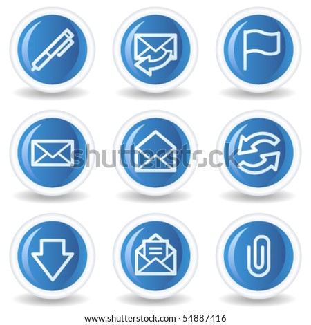 E-mail web icons, blue glossy circle buttons