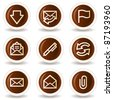 E-mail web icons, chocolate buttons - stock vector
