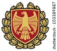 eagle emblem (eagle coat of arms, eagle symbol, eagle badge, eagle shield and laurel wreath) - stock vector
