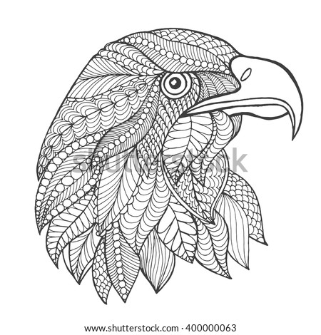 ethnic coloring pages | Eagle Bird Ethnic Floral Doodle Pattern Stock Vector ...