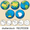 Earth: Cartoon illustration of planet Earth viewed from 5 different angles. Below are the same globes uncolored. - stock vector