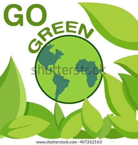 Earth Day concept with green leaf, vector illustration