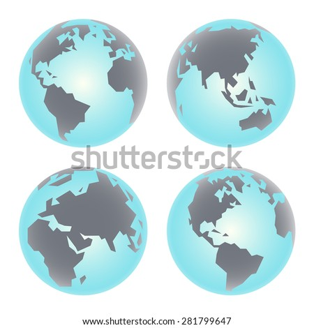 Earth globe icon. Set of primitive angular vector illustration of Planet Earth.