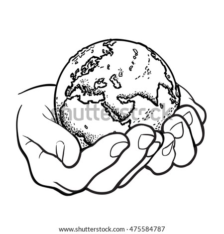 sketch earth black white hand drawn stock vector 452465593