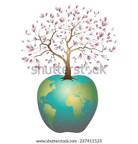 Earth in the form of an apple with the axis in the form of a blossoming apple-tree, an allusion to the biblical story of paradise, vector