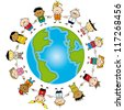 Earth is my friend. Group of children around the world. - stock vector