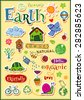 Earth vector set - doodles and inscriptions - stock vector
