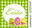 Easter Background with Decorated Eggs and 'Easter' Ornate Script - stock vector