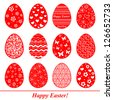 Easter eggs set. Pattern in a shape of an egg. Vector Illustration - stock vector