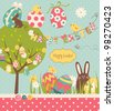 Easter Extravaganza. Big Easter set with cute chocolate rabbit, colourful eggs, chicks, Easter tree and a Clothesline with letters on it. Ideal for scrapbooking - stock vector