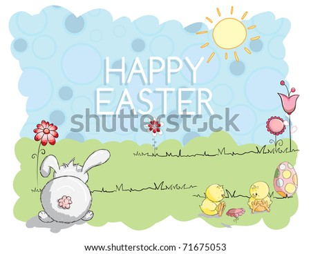 Easter greeting card - Bunny and little chicks