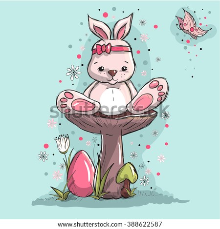 Easter greeting card - Cute little bunny and pink egg