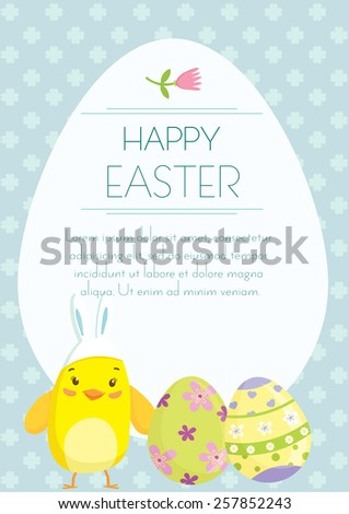 Easter holiday greeting postcard with cute little chicken cartoon and Easter Eggs. Free space for text message. Vector illustration.