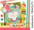 Easter scrapbook elements. Vector illustration. - stock photo