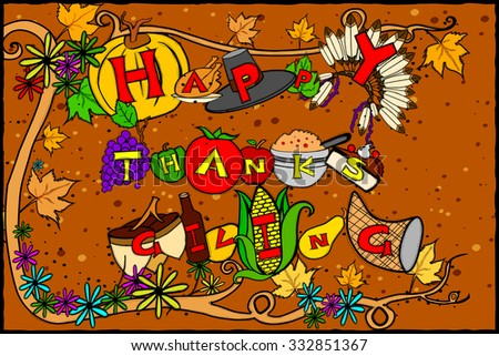 easy to edit vector illustration of Thanksgiving Harvesting festival background