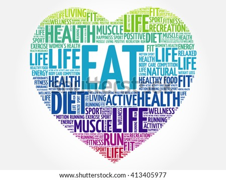 EAT heart word cloud, fitness, sport, health concept
