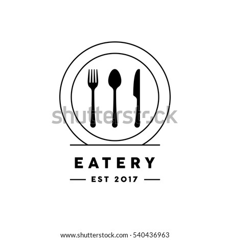 Eatery restaurant logo with line style knife, fork, spoon and plate icon. Vector illustration.
