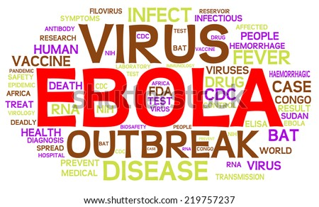 Ebola Virus word cloud. This infographic highlights important themes of the pandemic and deadly virus from origins in Africa to RNA diagnosis and the search for a vaccine or drug cure.  VECTOR.