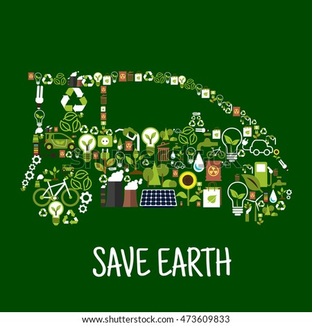 Eco car composed of green energy wind turbine, solar panel, recycling sign, light bulbs, green leaves, electric cars, fuel, water, plants, trees, ndustrial plants pollution and radioactive waste icons