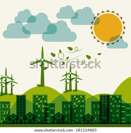 Eco City design over white background, vector illustration