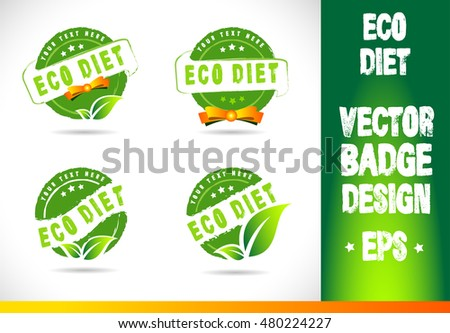 Eco diet Badge Logo badge label seal stamp logo text design green leaf template vector eps