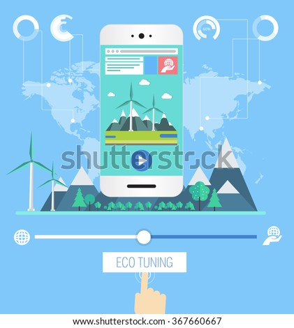 eco flat concept industrial communication with ecology factory, business graphics and design technology  elements on phone