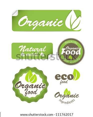 Eco food stickers isolated on white