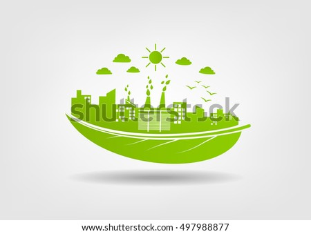 Eco friendly concept, Green city save the world, vector illustration