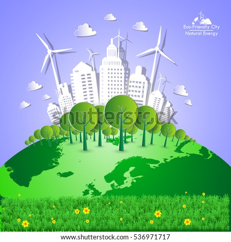 ECO FRIENDLY. Ecology concept with Green  Earth and Trees. Vector illustration