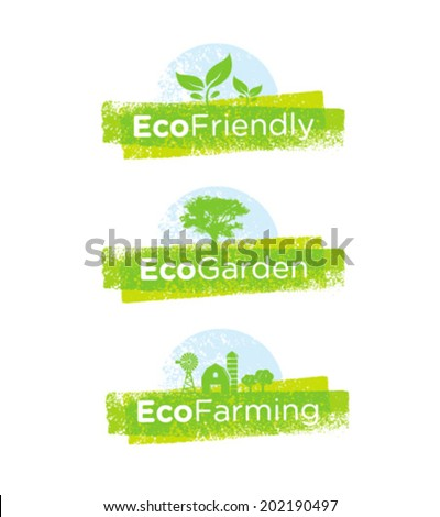 Eco Friendly Green Banner Concept. Fresh Vector Organic Design Icons