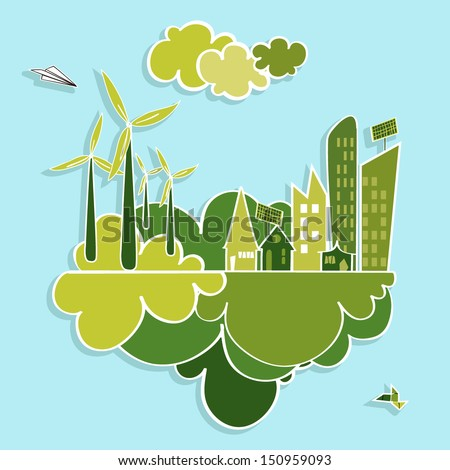 Eco friendly green city trees, buildings, houses, wind turbines and green clouds illustration. Vector layered for easy editing.