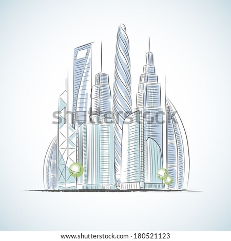 Eco green buildings icons of skyscrapers isolated sketch vector illustration