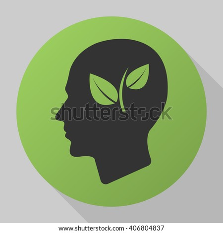eco Head icon vector, solid illustration, pictogram isolated on gray