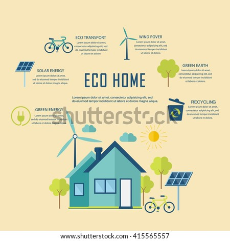 eco home design. Eco home in flat design  Ecology concept and places for text or infographic Flat Design Modern Infographic Concept Stock Vector