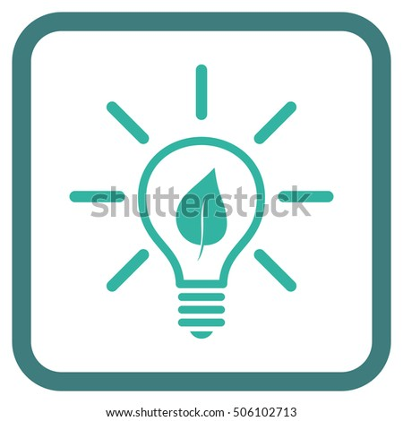 Eco Light Bulb cobalt and cyan vector icon. Image style is a flat pictogram symbol in a rounded square frame on a white background.