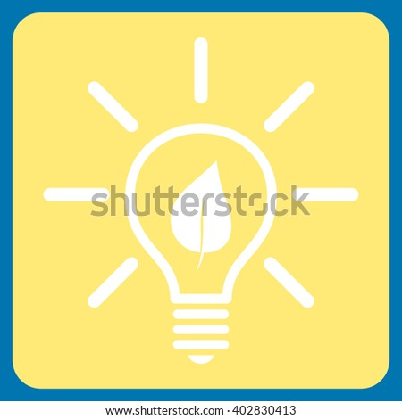 Eco Light Bulb vector symbol. Image style is bicolor flat eco light bulb pictogram symbol drawn on a rounded square with yellow and white colors.