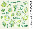 Ecology and environment doodle set - stock photo