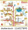 Ecology city, social info graphics vector elements. - stock vector