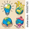Ecology Concepts 3: 4 conceptual illustrations on environmental subjects.   No transparency and gradients used. - stock vector