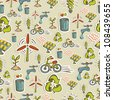Ecology icon set seamless pattern. Vector file layered for easy manipulation and custom coloring. - stock vector