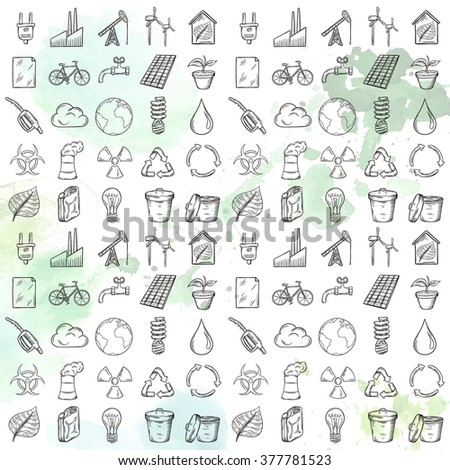 Ecology icons set. Hand drawn vector illustration.