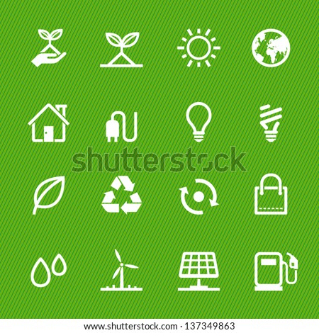 Ecology icons with Green Background