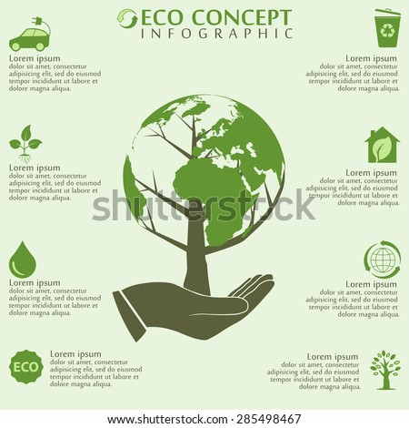 Earth day concept human hands holding stock vector for Earth elements organics