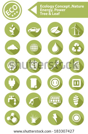 Ecology,Nature,Energy Icons,Green version,vector