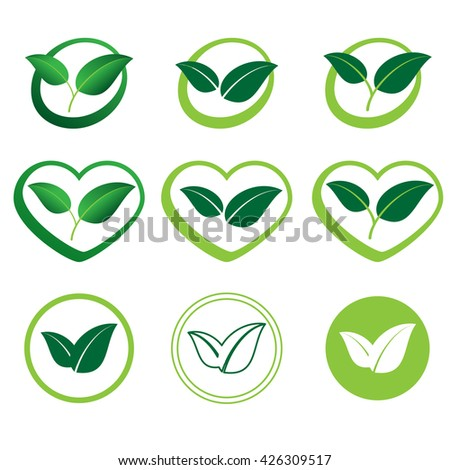 Ecology set of vector icons of green leaves